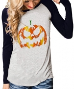 Rjxdlt Women Halloween Sweatshirts Off Shoulder Pumpkin Print Long Sleeve Pullover Tops Black 3XL.