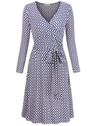 Plus Size Dresses for Women,MOOSUNGEEK Office Ladies Business Career Work Style Solid & Printed Surplice A-Line Wrap Dress Blue Apricot Flower XXL.