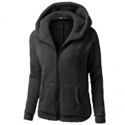 FAPIZI ♥ Women Coat ♥ Womens Warm Winter Hooded Long Section Coat Belt Double Breasted Jacket (XL, Black).