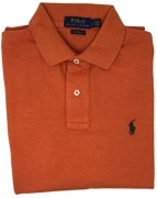 Polo Ralph Lauren Classic Fit Mesh Pony Logo Polo Shirt (Large, Dark Orange)