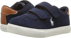 Polo Ralph Lauren Kids Boys' Hadley EZ Sneaker, Navy Suede/White Pop, 10 Medium US Toddler