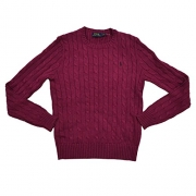 Polo Ralph Lauren Womens Cable Knit Crew Neck Sweater (Medium, Red Heather)