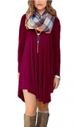 POSESHE Women's Irregular Hem Long Sleeve Casual T-Shirt Flowy Short Dress Wine Red L.