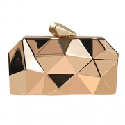 QZUnique Women's Alloy Metal Abstract Stone Cut Hardcase Evening Bag Clutches Handbag Golden.