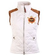 Ralph Lauren Sport Women Equestrian Crest Vest Suede Trim, Essex Cream, Small