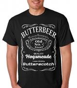 Raw T-Shirts Vintage Butterbeer – Old No. 9 3/4 – Harry Potter Butter Scotch Men's T-Shirt (Large, Black)