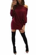ReachMe Womens Long Sleeve Off Shoulder Knitted Sweater Dress Sexy Sweater Tunic(Burgundy,L)