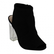 Red Delicious ID52 Women's Side Zipper Backless Lucite Chunk Heel Ankle Bootie, Color:BLACK, Size:8.5.