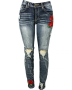 Red Fox Women's Moto Cut And Sew Denim Skinny Jeans, Red, 5.