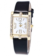 Top Plaza Women Fashion All Black PU Leather Wrist Watch Rhombus Rhinestone Rose Gold Case Non Scale Analog Quartz Watch – Women's Watches Best Price