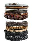 REVOLIA 10Pcs Mens Womens Leather Bracelets Wooden Beaded Bracelets Braided Cuff