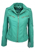 RIDER Ladies Turquoise WASHED Biker Motorcycle Style Soft Real Nappa Leather Jacket (UK 16/US 12).