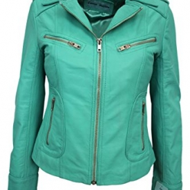 RIDER Ladies Turquoise WASHED Biker Motorcycle Style Soft Real Nappa Leather Jacket (UK 16/US 12).