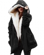 Roiii Women Thicken Warm Winter Coat Hood Parka Overcoat Long Jacket Outwear.
