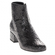 Saint Laurent Women's Glitter Almond-Toe Ankle Boots w/ Short Block Heel Leather Black EU 39 (US 9).