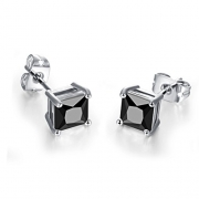 Mens Square Earrings Black Stud Diamond Crystal Small 316L Surgical Stainless Steel Post for Sensitive Ears Cool Guy Jewelry Gift Men,Women Unisex 7mm -Bala