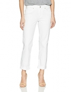 Signature by Levi Strauss & Co. Gold Label Women's Mid Rise Slim Cuffed Jeans, White Dove, 4