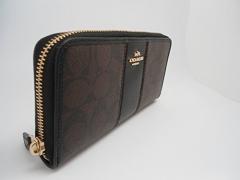 Signature PVC Leather Accordion Zip Wallet 54630 Brown Black