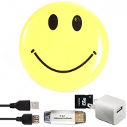Smiley Face Body Camera & DVR- Wearable Surveillance Cam – Includes Bonus SD Card Adapter, 4-In-1 Card Reader & USB Wall Charger – Features Video, Photo, PC Webcam and More – Satisfaction Guarantee.