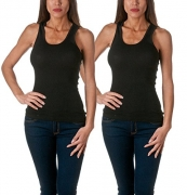 Sofra Women's Tank Top Cotton Ribbed 2 Pack Deal(Black/Black-S)