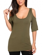 Easther Women's Casual Flare Hem Tunic Top For Leggings Long Sleeve Tunic Dress Army Green M.