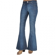 S&P Junior Women Vintage Boho Patchwork Flare Bell Bottom Jeans with Long Length.