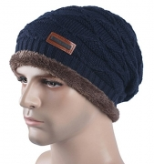 Spikerking New Mens Knitted hats Classic Plush Lining Winter Thick Beanie Hat Skull Cap,Navy blue – Men's Hat Best Price