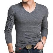 Spring Fashion Brand O-Neck Slim Fit Long Sleeve T Shirt Men Trend Casual Mens T-Shirt Korean T Shirts V neck Dark Gray XL