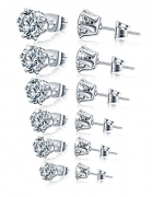 Womens Girls 8 Pairs White and Black Stainless Steel Cubic Zirconia Stud Earrings Pierced Round Stud Earrings 3-8mm
