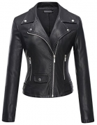 LL WJC664 Womens Faux Leather Jacket with Hoodie S BLACK.
