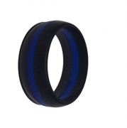 King Will DUO Mens 7mm Black Matte Finish Tungsten Carbide Ring Blue Beveled Edge Wedding Band(10)
