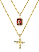 "Thunaraz 2Pcs 18k Gold Plated Necklace Angel Hip Hop Pendent Praying Hands Necklace Twist Rope Chain 24"" 30inch"
