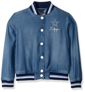 Tommy Hilfiger Big Girls' Denim Baseball Jacket, Rinsed Indigo, Large