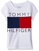 Tommy Hilfiger Big Girls' Pieced Flag Tee, White, Medium
