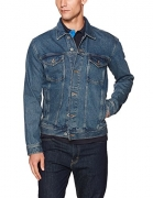 Tommy Hilfiger Denim Men's Varsity Trucker Jean Jacket, Varsity Denim Blue, Large