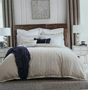 Tommy Hilfiger Ian Stripe Flannel Duvet Set, Full, Queen, Beige, Tan, White Strips