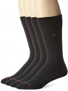 Tommy Hilfiger Men's 4 Pack Flat Knit Logo Crew Sock,Black,Sock Size: 10-13/Shoe Size: 7-12