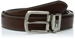 Tommy Hilfiger Men's Leather Reversible Belt,Brown/black,34