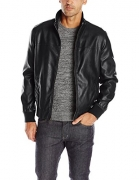 Chouyatou Men's Vintage Stand Collar Pu Leather Jacket (X-Large, Black)