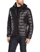 Tommy Hilfiger Men's Ultra Loft Insulated Packable Jacket With Contrast Bib and Hood, Black/Olive Bib, S