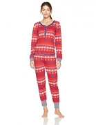 Tommy Hilfiger Women's Long Sleeve Thermal Pajama Set PJ, TH Moose Fairisle, XS