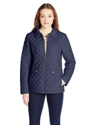 Tommy Hilfiger Women's Zip Front Quilted Jacket, Navy, Large
