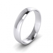 Unisex 14k White Gold 4mm Light Court Shape Comfort Fit Polished Wedding Ring Plain Band (8)