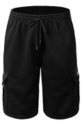 "URBAN ICON MEN'S FLEECE CARGO SHORTS ""DREAM USA"", 2X-LARGE, BLACK – mens cargo shorts usa"