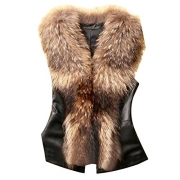 Bellivera Womens Faux Fur Collar Leather Short Jacket.