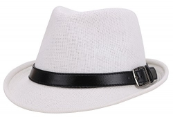 UV Sun Protective Straw Fedora Trilby Sun Hat,White Hat Black Buckle Band,59cm – Men's Hat Best Price