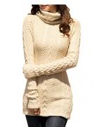 V28 Women Polo Neck Knit Stretchable Elasticity Long Sleeve Slim Sweater Jumper (US SIZE 0-4, Beige)