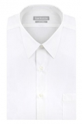 Van Heusen Men's Poplin Regular Fit Solid Point Collar Dress Shirt, White, 16.5″ Neck 34″-35″ Sleeve.