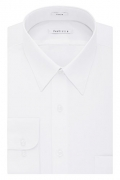 Van Heusen Men's Poplin Fitted Solid Point Collar Dress Shirt, White, 17″ Neck 34″-35″ Sleeve