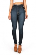 Vibrant Womens Juniors Classic High Waist Denim Skinny Jeans 13 Dark Denim.